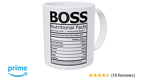 7dffb9e3600 Amazon.com: Wampumtuk Boss Nutritional Facts Funny Coffee Mug 11 Ounces  Inspirational And Motivational: Home & Kitchen
