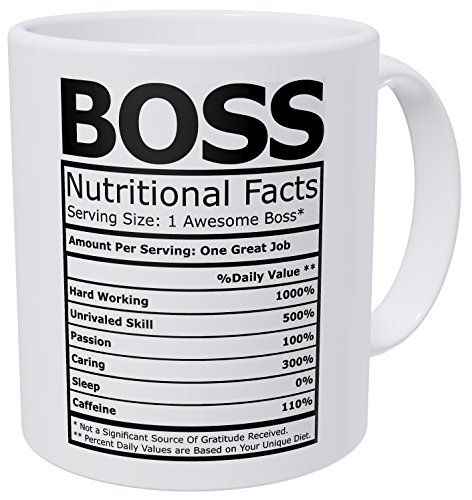 Wampumtuk Boss Nutritional Facts Funny Coffee Mug 11 Ounces Inspirational And Motivational
