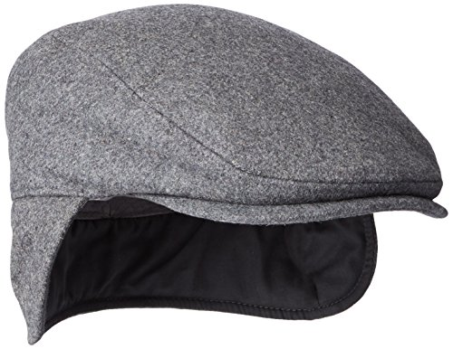 Dockers Men's Solid Melton Hat with Fold-Down Ear Flaps, Charcoal, 36(L/XL)
