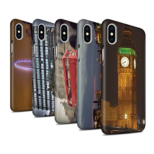 STUFF4 Matte Snap-On Hülle / Case für Apple iPhone X/10 / Pack (9 Artikel) / London England Kollektion