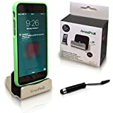 AmaziPro8® Iphone Charger Docking Station+ Stylus + Dust Plug + 5 Ebooks, USB Lightning Cable, Charge Sync Stand, Cradle Charging For Apple 6 Plus 6S Plus 6 6S 5 5S 5C Black-Silver