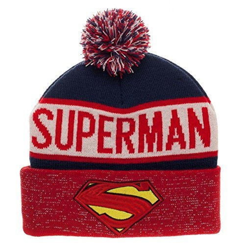 Superman Reflective Winter Pom Beanie  One Size ,Red ]()