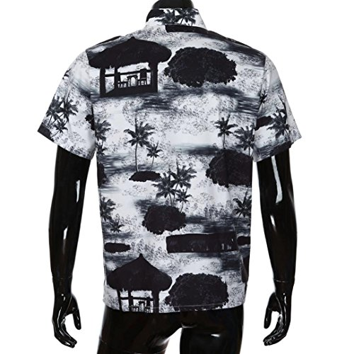 Top Nero Camicia 2018 Floral hawaiana Vacanze Front uomo casual New shirt Style Da pocket Shirts Estate Tee Beach stampato Beach Adeshop a T corte camicetta Fashion maniche Lche 0qwpaa