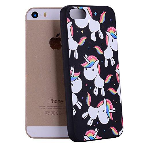Color patrón de TPU suave nuevo caso para iPhone 5s / iPhone SE ( PATTERN : Unicorn ) Rainbow Pony