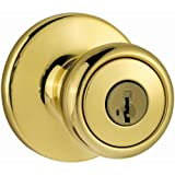 kwikset door knob brass - Kwikset Tylo Entry Knob featuring SmartKey in Polished Brass