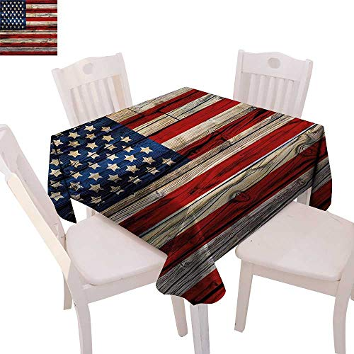 cobeDecor 4th of July Dinner Picnic Table Cloth Wooden Planks Painted as United States Flag Patriotic Country Style Waterproof Table Cover for Kitchen 50
