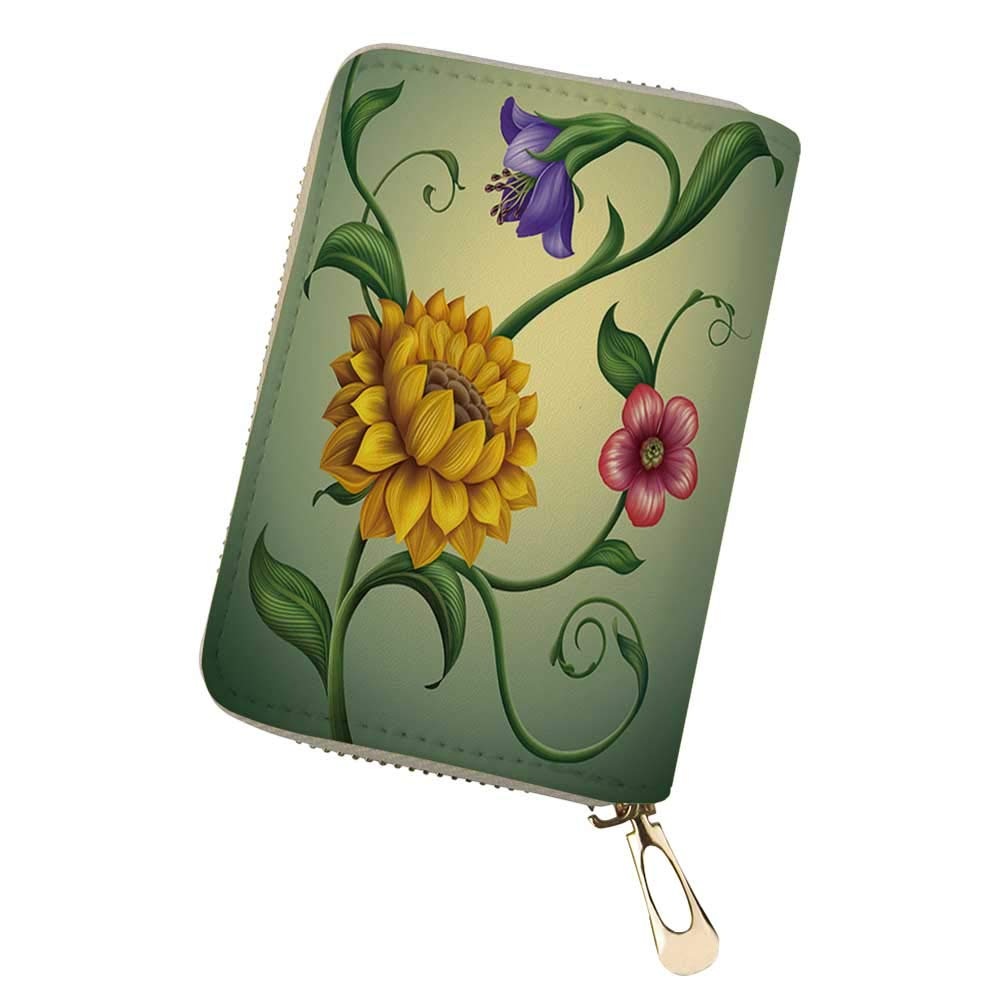 RFID Blocking Credit Card Holder Vector Set Calligra Leather Zipper Card Case