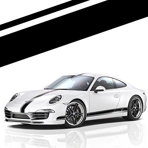 Xotic Tech Left Side Vinyl Stripe Car Body Decal Racing Rally Sporty Sticker for Porsche 911 Macan Cayenne Hood Roof Rear Trunk Black ()