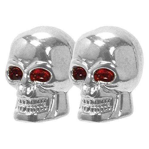 4x Skull Valve Stem Chrome Car Tire Air Caps Tyre Covers Chrome Universal ()