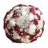 GJX Artificial Flower Silk Flower Crystal Rose Bridesmaid Wedding Bride Bouquet Europe Style And America Style Wedding (Color : Wine red)
