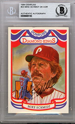Mike Schmidt Autographed Signed 1984 Donruss Diamond Kings Card #23 Philadelphia Phillies - Beckett BAS Certified