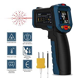 Laser thermometer, Infrared thermometer Digital Laser Thermometer Non Contact Kitchen Thermometer Temperature Gun Color Display With 12 Points Aperture Temperature Alarm Function for Kitchen Cooking