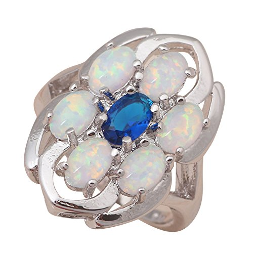 Blues Brothers Costume Australia (GemMart Jewelry Australia Zircon Blue Topaz Six White fire Opals Silver Stamped fashion jewelry Ring 6 7 8 9 OR652A)