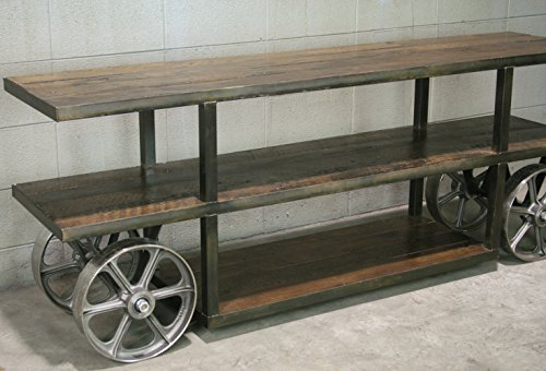 Industrial Trolley Cart/ Media Console / Reclaimed Wood TV Stand.
