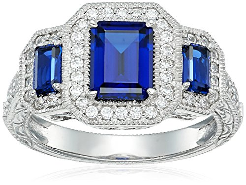 Platinum Plated Sterling Silver Created Sapphire 3-Stone Vintage Style Band Swarovski Zirconia Accents Ring, Size 7 by Amazon Collection