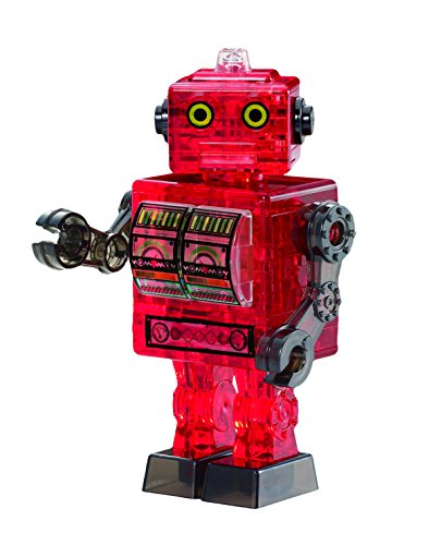 Bepuzzled Original 3D Crystal Tin Robot Puzzle (39 Piece), Red