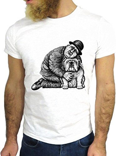 T-SHIRT JODE GGG24 Z1210 MAN DOG BLACK AND WHITE PUPPY LOVE FASHION GREAT BIANCA - WHITE XL