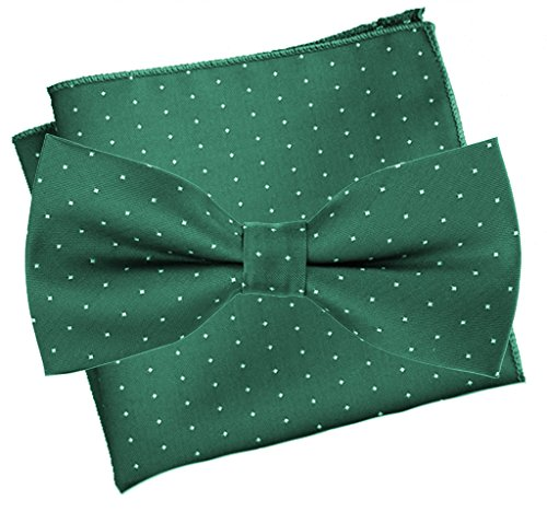Flairs New York Collection Bow Tie & Pocket Square Matching Set (Forest Green / White [Mini Polka Dots])