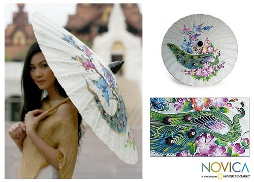 Vintage Style Parasols and Umbrellas NOVICA Floral Paper Parasol Saa Paper and Bamboo Home Multicolor Peacock And Flowers $15.79 AT vintagedancer.com