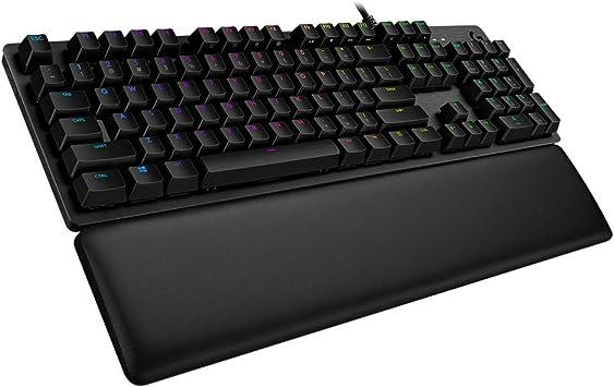 Logitech G513 - Teclado mecánico RGB LIGHTSYNC para Gaming (GX Brown, reposa Manos de Espuma visco elástica y Paso de USB (Layout Alemán) carbón