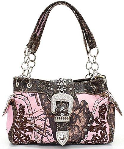 (Mossy Oak Camouflage Western Rhinestone Buckle Handbag (Mossy Oak Pink & Brown))