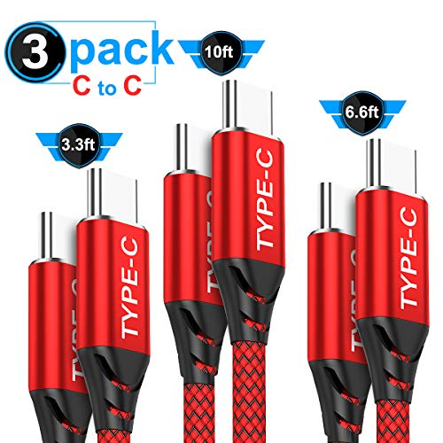USB C to USB C Cable 3A 3-Pack (3.3ft+6.6ft+10ft),AkoaDa USB Type C Fast Charger Cable Nylon Braided Cord Compatible Google Pixel/Pixel 2 3 XL,Nexus 6P 5X,Galaxy s8 s9 S10 Plus (Red)