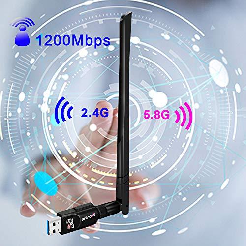 USB WiFi Adapter 1200Mbps,USB 3.0 Wireless Network WiFi Dongle with 5dBi Antenna for PC Desktop Laptop Mac, Dual Band 2.4G/5G 802.11ac,Support Windows 10/8/8.1/7/Vista/XP/2000, Mac10.6-10.14 (Vista Windows Laptop)