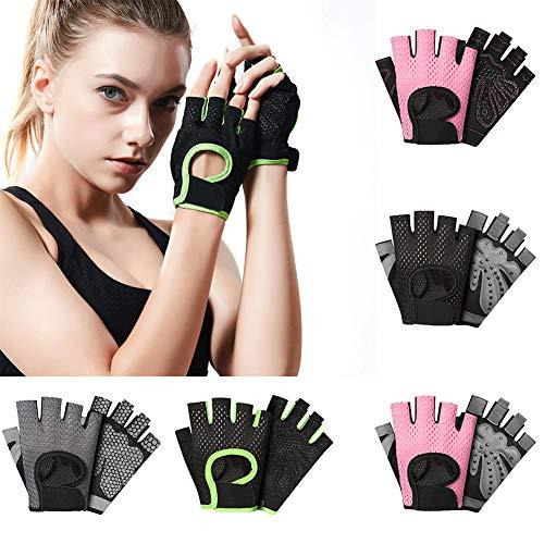 ZBmiluddeer Men Women Sports Gym Fitness Workout Weightlifting Half Finger Anti-Skid Gloves - Pink XL XG08