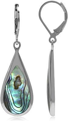 shell jewelry Genuine Abalone Earrings set in silver plated teardrops silver drop earrings mother of pearl earrings abalone jewelry