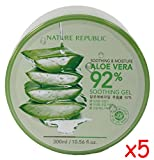 Nature Republic Skin Soothing Moisture Aloe Vera 92% Natural Gel Value Pack of 5