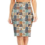 Ancharpin Out of Africa Elastic High Waist Pencil Skirt Bodycon Career Office Midi Classic Fashion X-Large