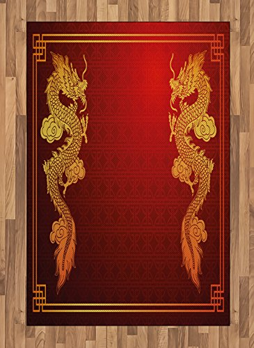 Ambesonne Dragon Area Rug, Chinese Heritage Historical Eastern Motif with Creature Design, Flat Woven Accent Rug for Living Room Bedroom Dining Room, 4' X 5.7', Orange Yellow