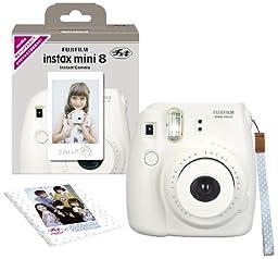 Fuji Instax Mini 8 N White + Original Strap Set Fujifilm Instax Mini 8N Instant Camera