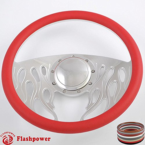 Flashpower 14'' Billet Flame Half Wrap Steering Wheel with 9 Bolts 2'' Dish and Horn Button (Red) - Half Wrap