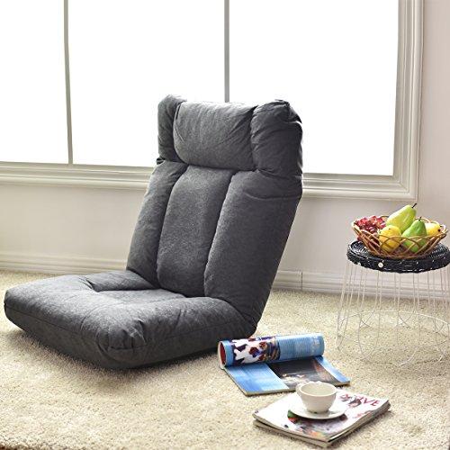 Giantex Cushioned Floor Gaming Sofa Chair Adjustable Folding Lazy Recliner w/ Headrest