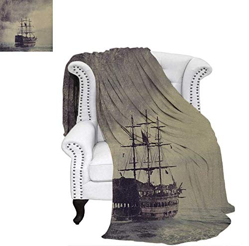 Pirates Cotton Comforter - Summer Quilt Comforter Old Pirate Ship in The Sea Historical Legend Cruise Retro Voyage Grunge Style Art Digital Printing Blanket 70