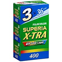 Fujifilm Superia X-TRA 400 Color Negative Film 35mm Color Film 36 Exposures, 3 Pack