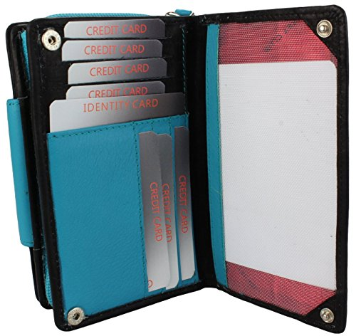 format upright with green wallet in Leather Wallet Turquoise Black brown external bolt xwqHEStE