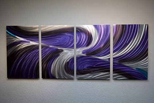 Miles Shay Metal Wall Art, Modern Home Decor, Abstract Artwork Sculpture- Echo Purple