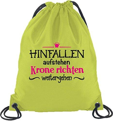 Shirtstreet24, Hinfallen-aufstehen, Prinzessin Turnbeutel Rucksack Sport Beutel Limone