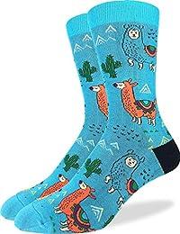 Good Luck Sock Men's Fun Llamas Socks - Blue, Adult Shoe Size 7-12