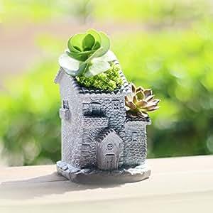 Resina Vintage exterior edificio diseño Flower Pot, al aire libre jardín contenedores de plantas, hecho a mano