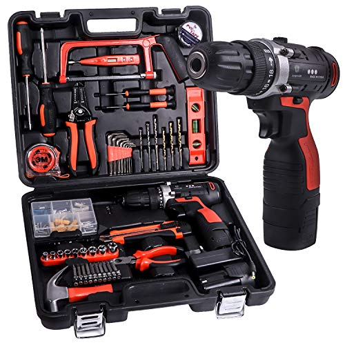 LETTON 16.8V Cordless Drill Lithium Ion with Tools Combo Kit for 60 Accessories Home Cordless Repair Kit Tool Set (Best Compact Drill 2019)