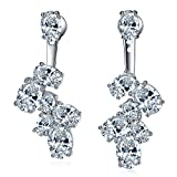 LicLiz Flower Cluster Oval Cubic Zirconia Jacket Earrings, Wedding Dangle Earrings Front Back