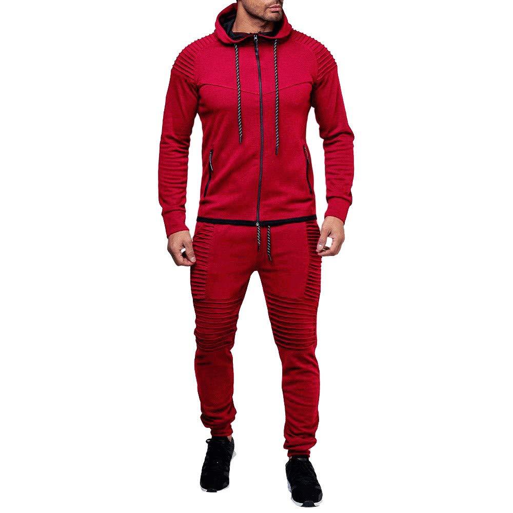 iMakcc Men's Autumn Winter Hooded Pocket Sweatshirt Top Pants Sets Sports Suit Tracksuit
