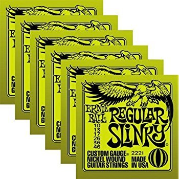 - Ernie Ball Regular Slinky Custom Gauge Nickel Wound Guitar String - Set.010 - .046 (6 Pack)