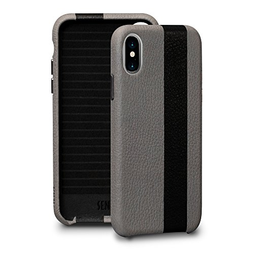 - Sena Corsa Ii - Ultra Thin Handwrapped Leather Snap On Case For Iphone X Xs - Grey/Black