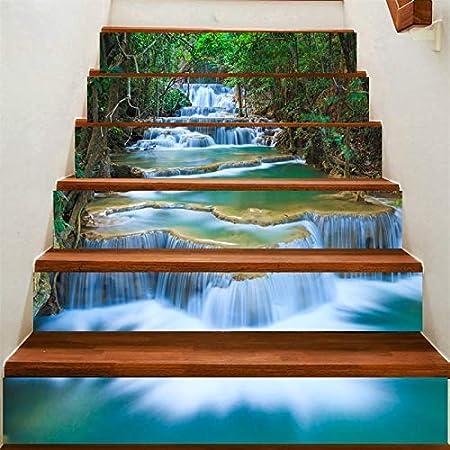 XIAOMAN Etiquetas engomadas de la Escalera 6 Unidades Creek Cascada 3D calcomanía extraíble Autoadhesivas Arte DIY Pegatinas para escaleras 18 * 100 cm (Color : 1, Size : 18 * 100cm*6): Amazon.es: Hogar