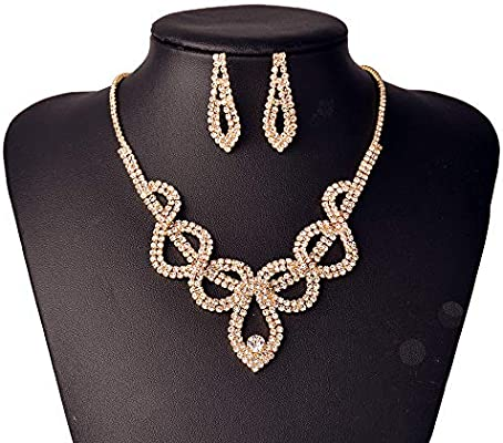 European And American Personality Bride Jewelry Suit Gold Necklace