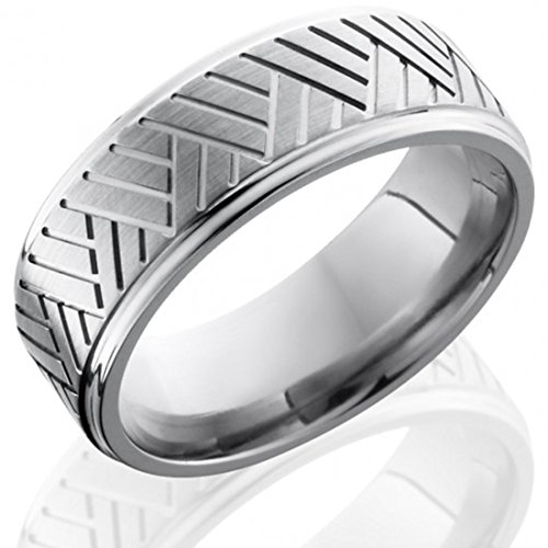 Titanium Ring, Titanium Wedding Band, Custom Made Ring, Anniversary Ring, Titanium Mens Ring, Promise Ring, 8mm Flat Band, Grooved Edges, Basket Pattern Ring